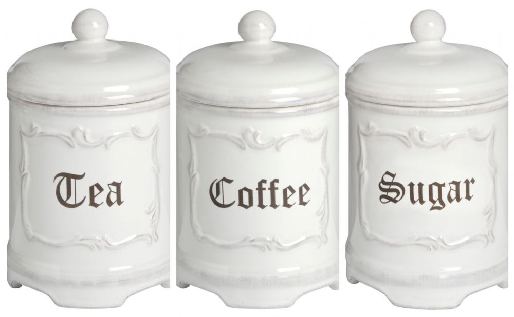 White Country Decor Tea Sugar Coffee Ceramic Cannister Set Shabby Chic Style
